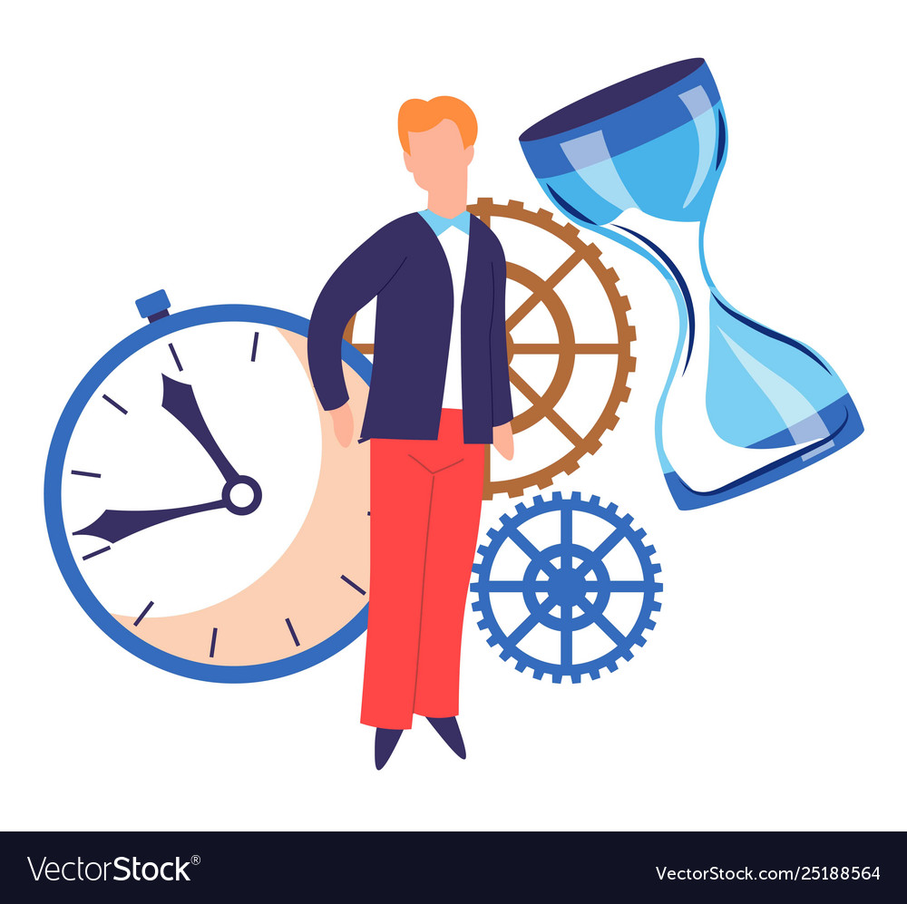 Time concept timer and hourglass cogwheels and man