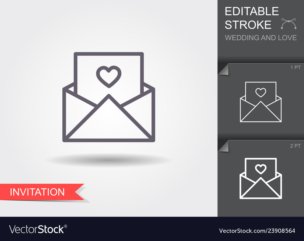 Wedding invitation line icon with shadow and