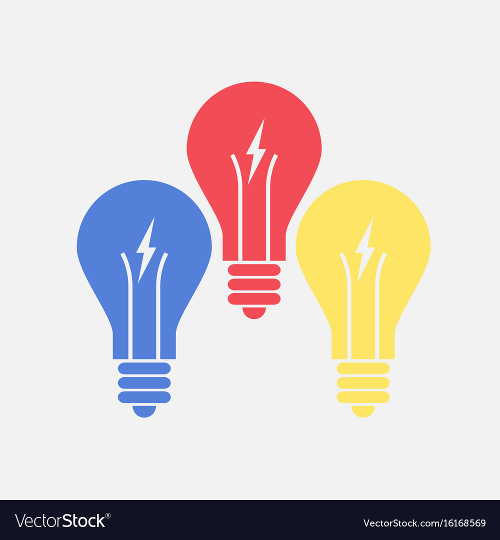 Abstract flat design color lightbulbs eureka