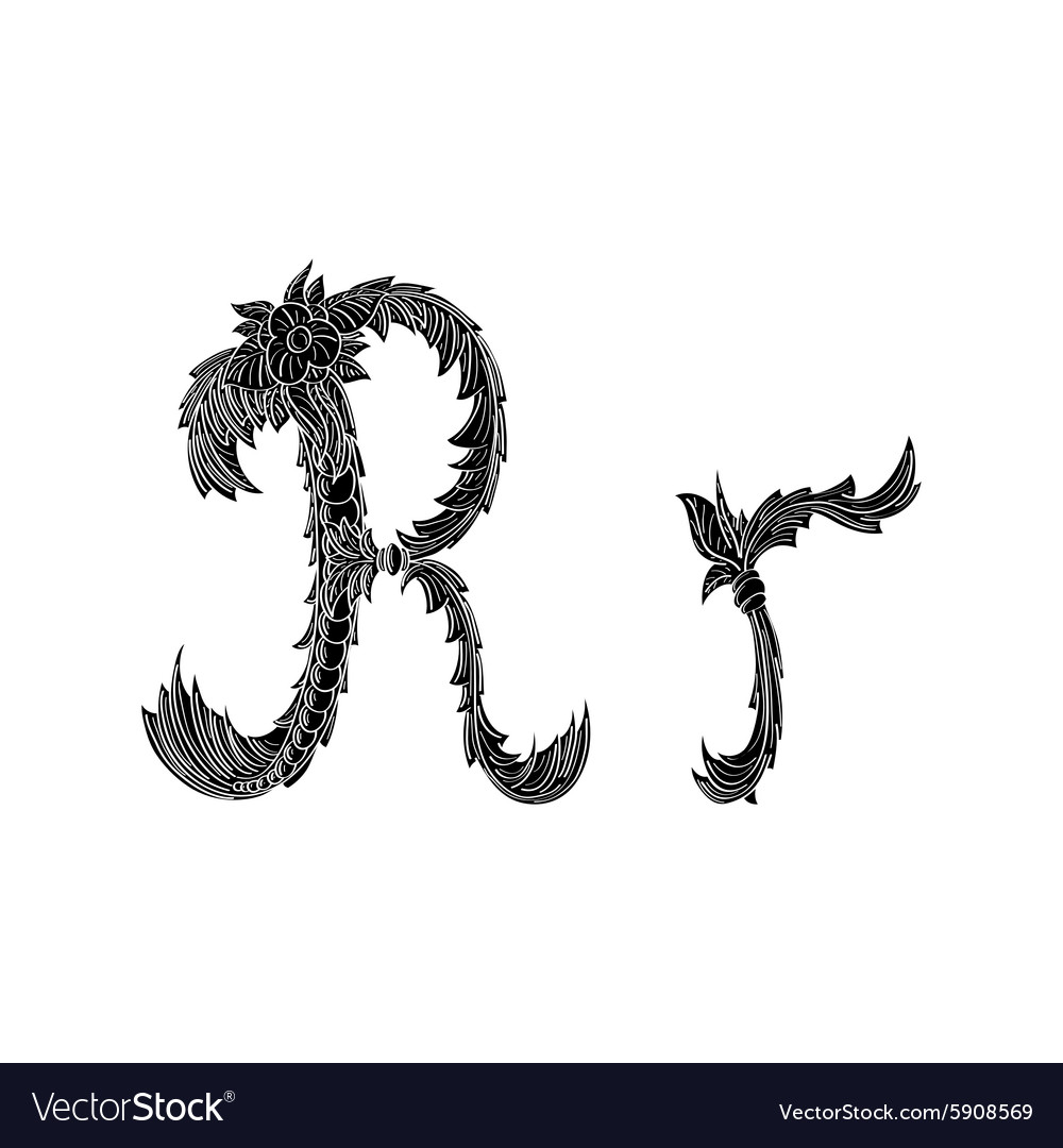 abstract letter r logo icon black and white design