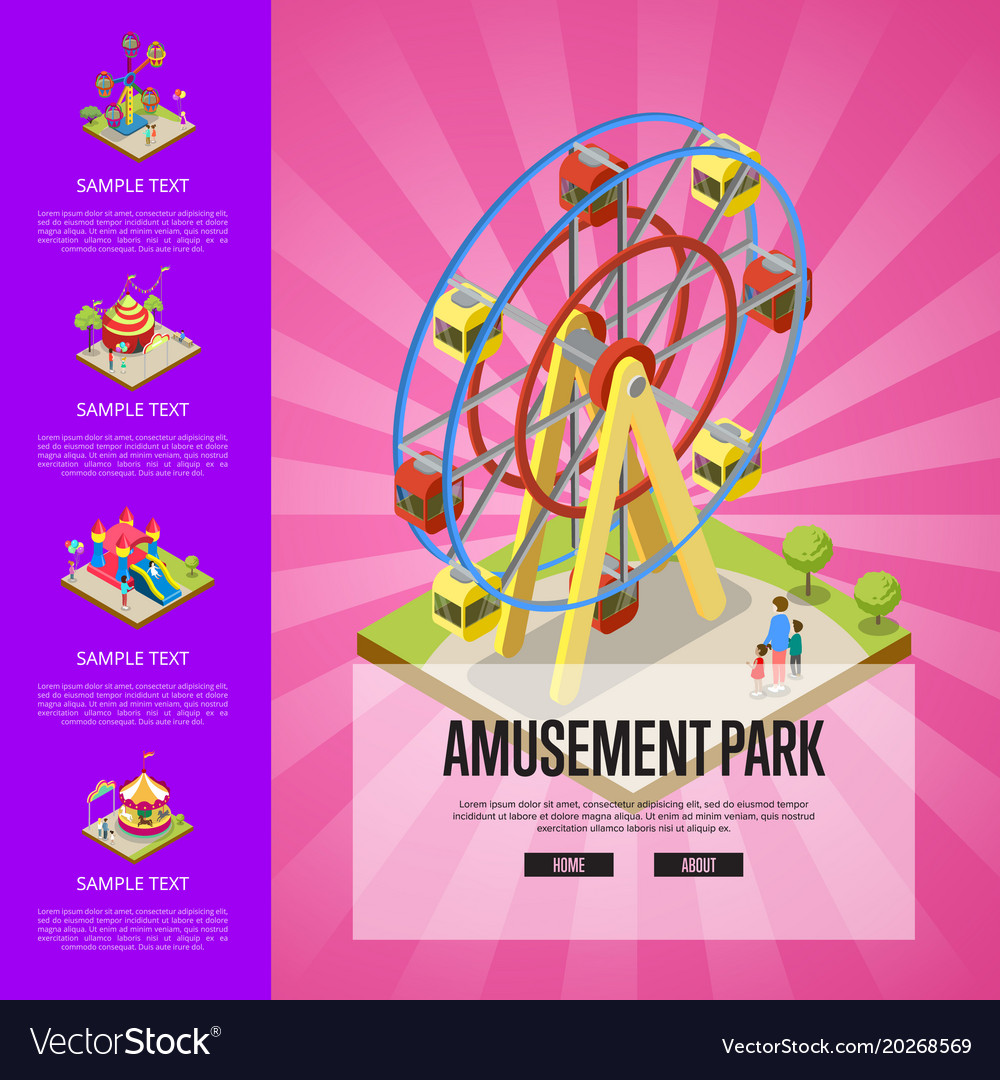 Amusement park banner with isometric elements