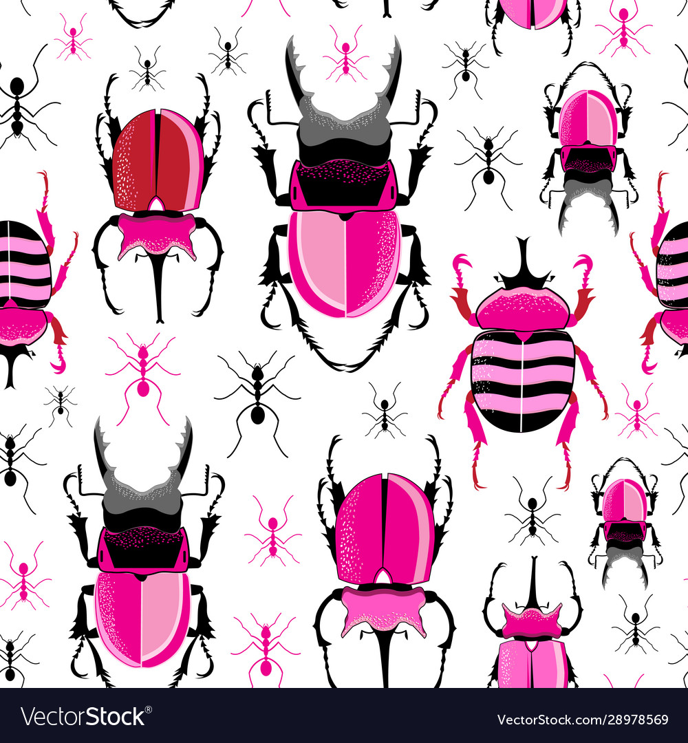 Bright seamless pattern with beetles and ants