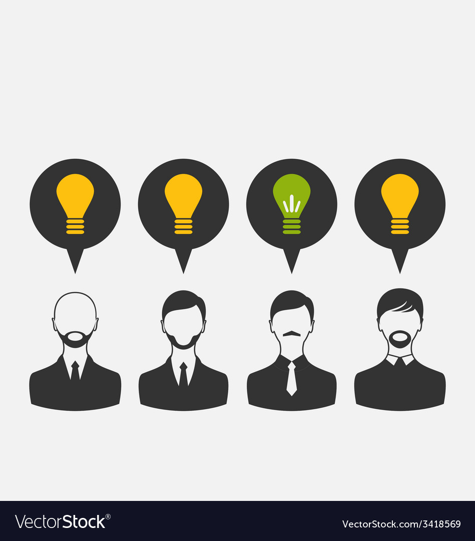 Business people with light bulbs as a concept of