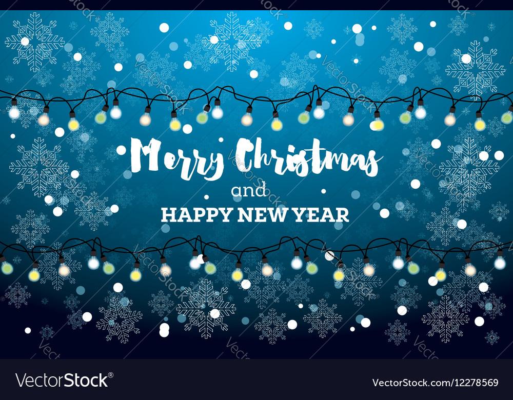 Christmas Card with Neon Light Bulbs