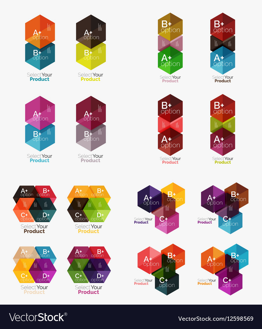 Collection of geometric paper infographic vector image