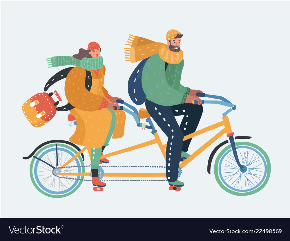 Couple of man and woman riding a tandem bicycle