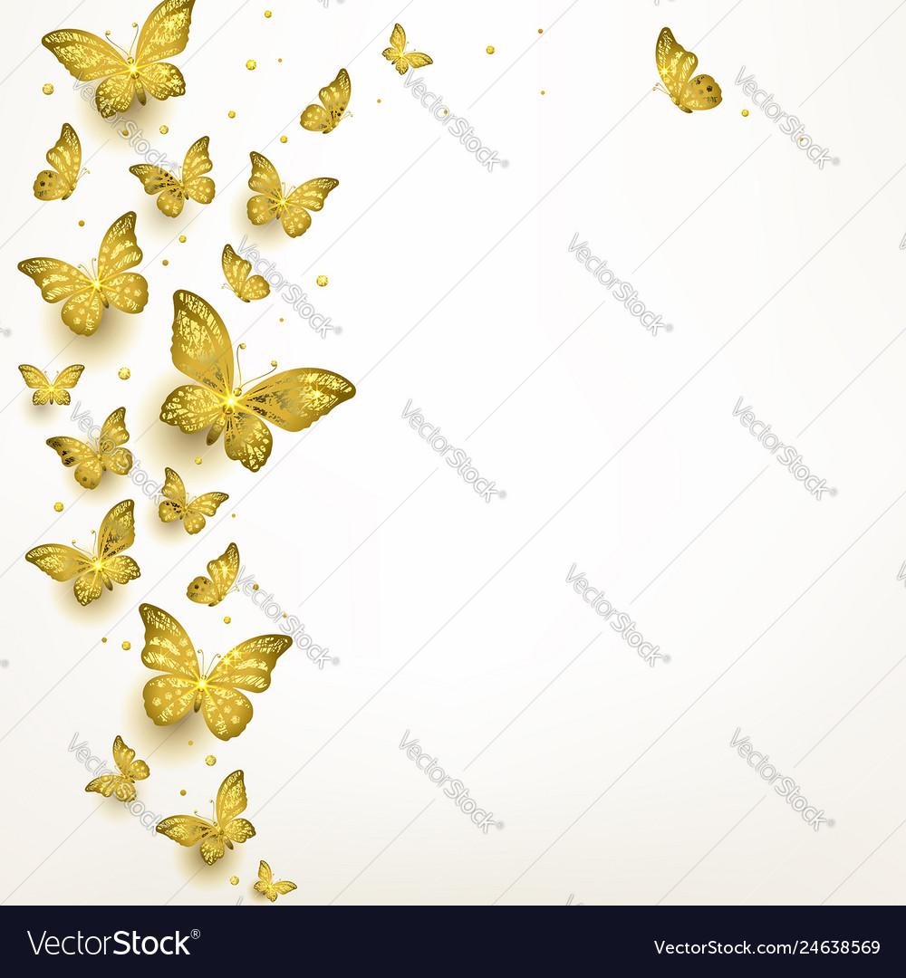 Decorative golden butterflies in a flock