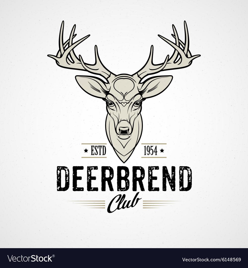 Deer head Design Element in Vintage Style