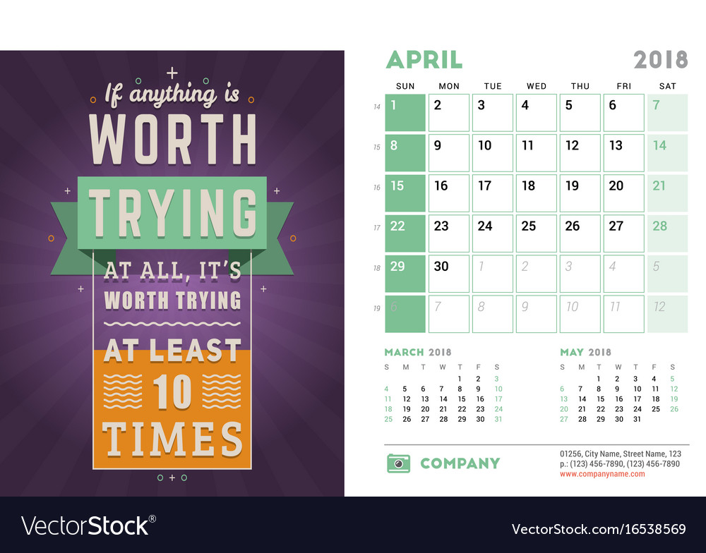 Desk Calendar Template For 2018 Year April Design Vector Image