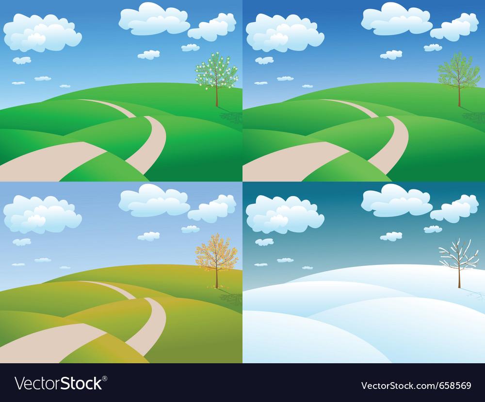 Four seasons landscape vector image - Four Seasons Landscape Royalty Free Vector Image
