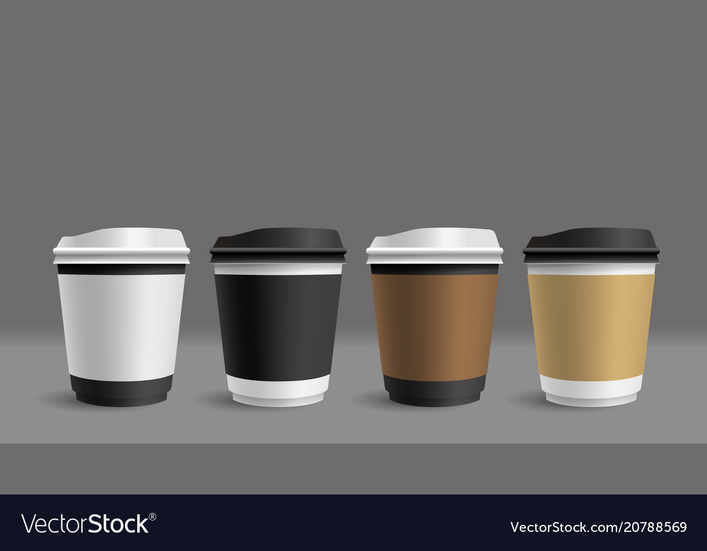 Hot coffee cup on gray background