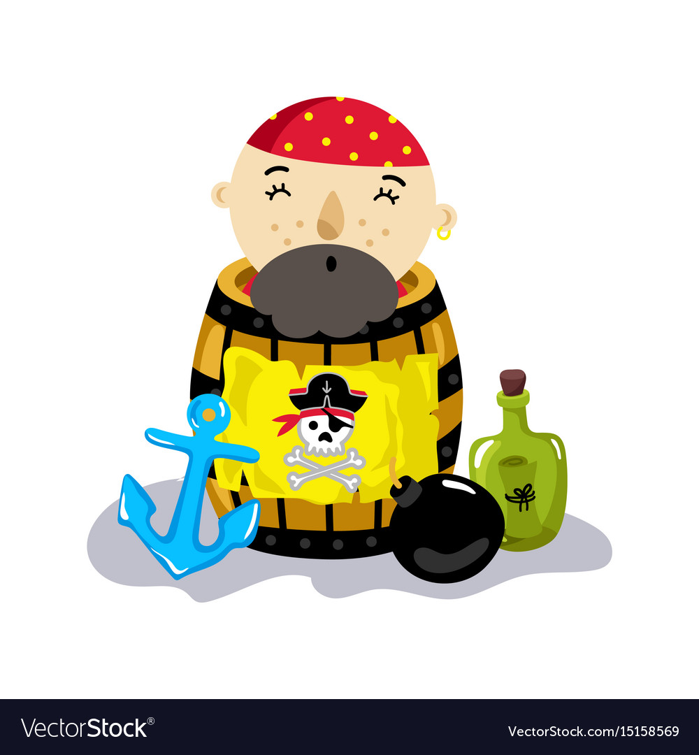 Pirate character in wooden barrel icon