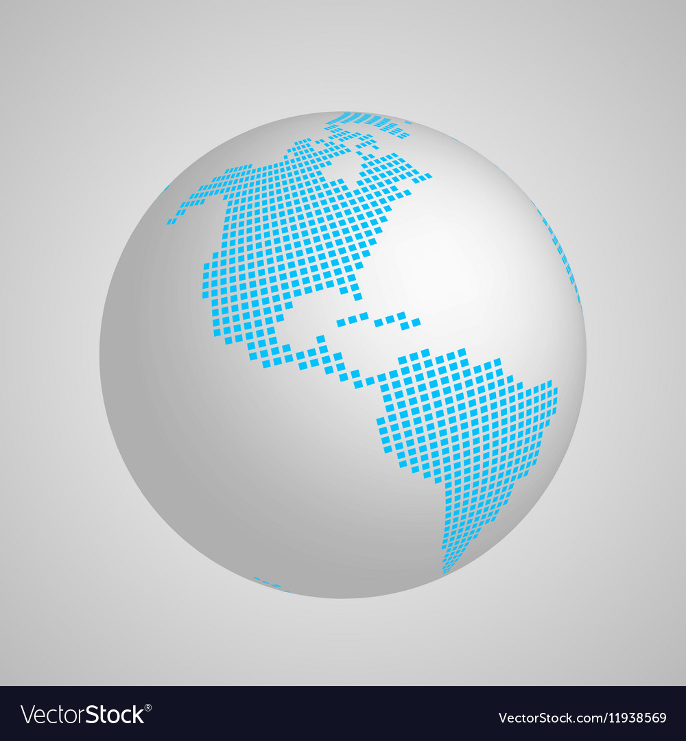Planet Earth globe with blue squared map of