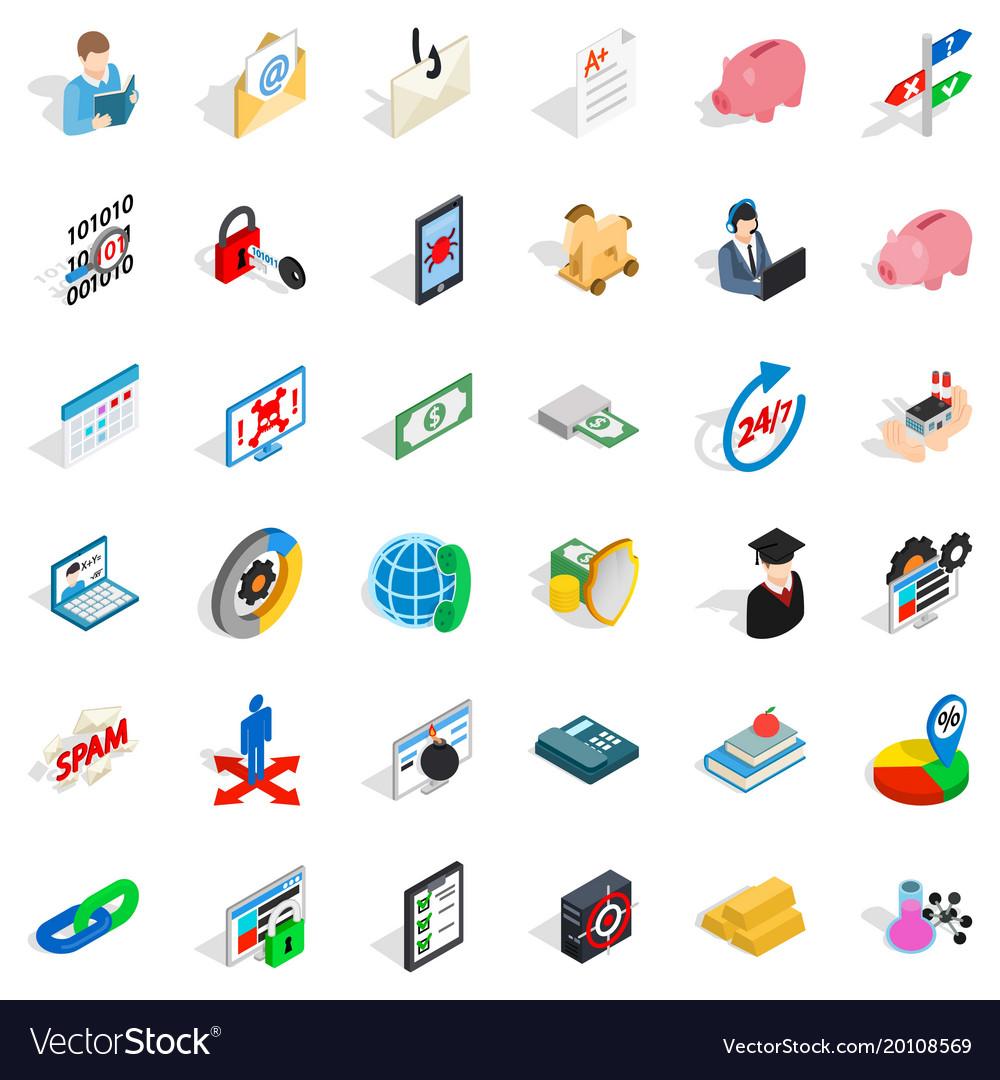 Quantity of money icons set isometric style