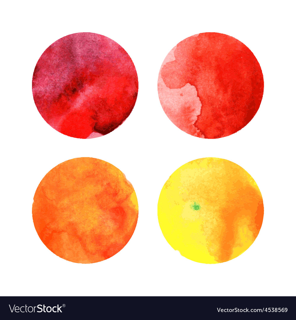 Set of colorful watercolor circles