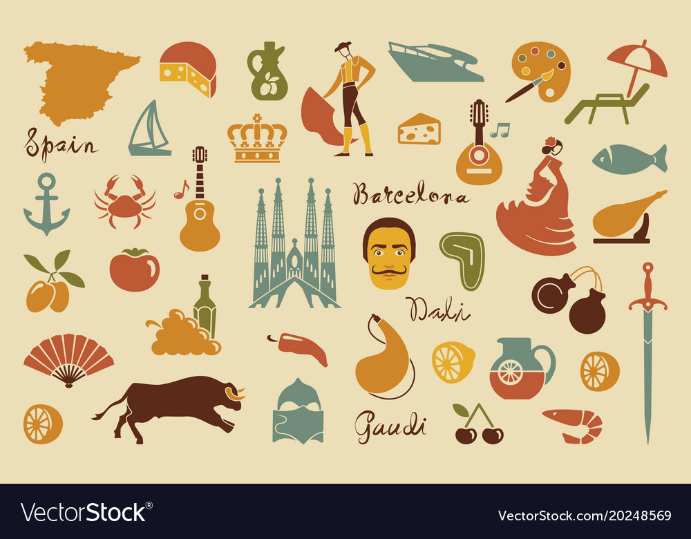 Traditional Symbols Of Spain Royalty Free Vector Image