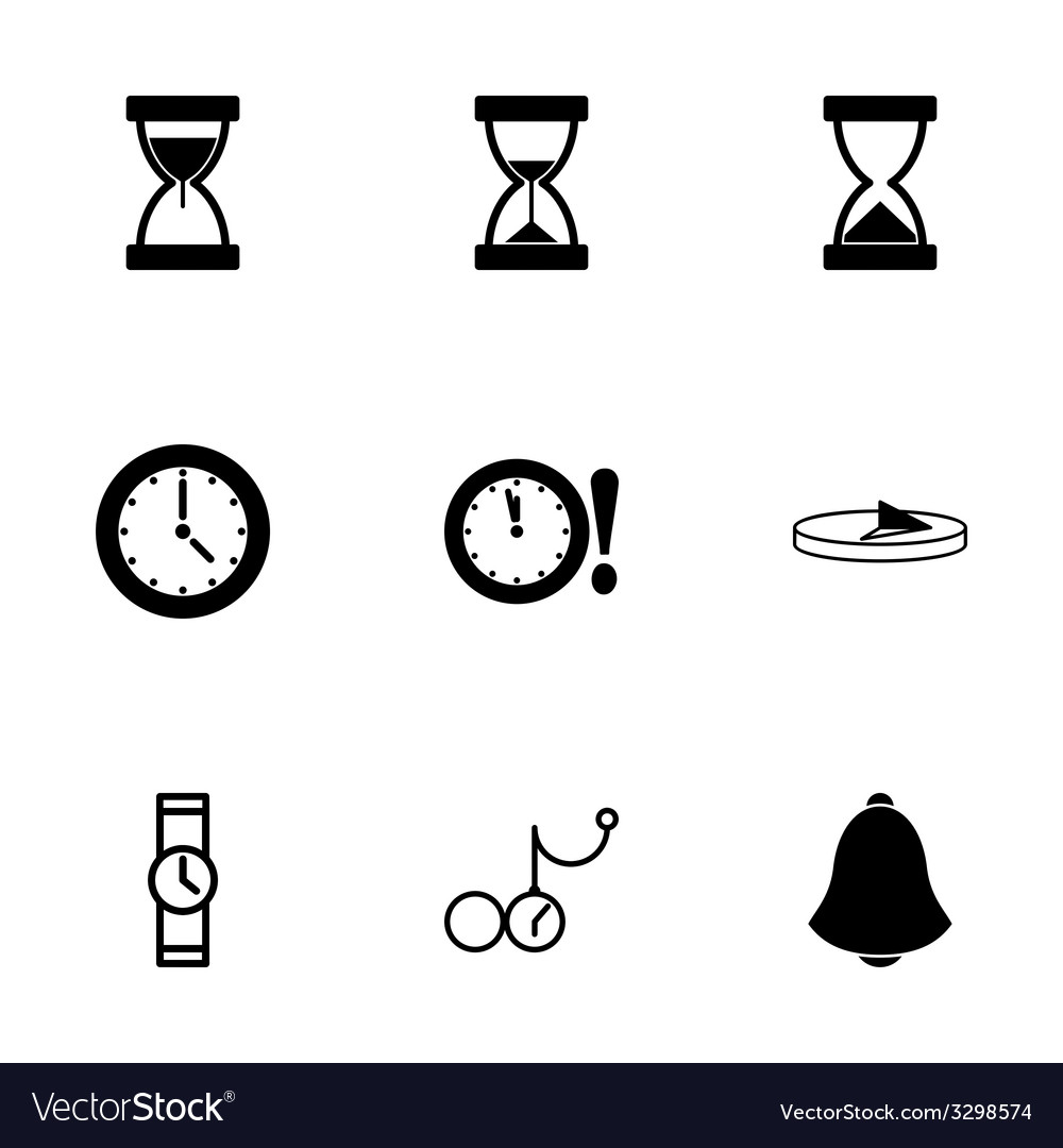 Black time icons set