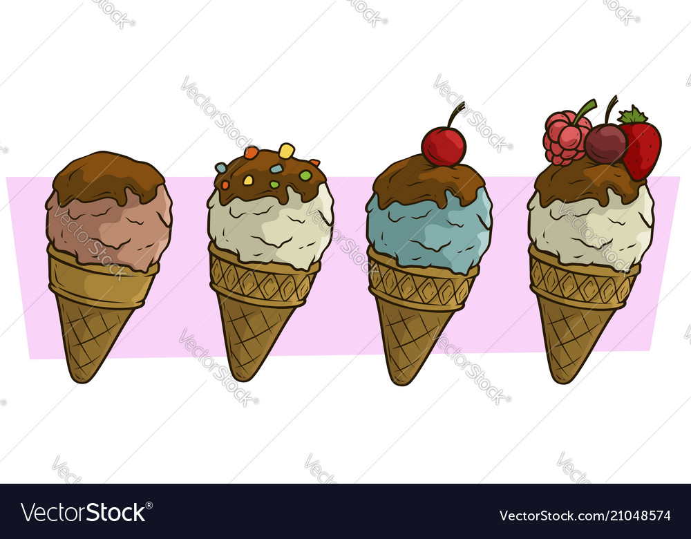 Cartoon colored ice cream balls in waffle cone