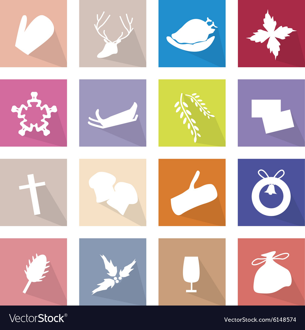 Collection of 16 Merry Christmas Icon vector image