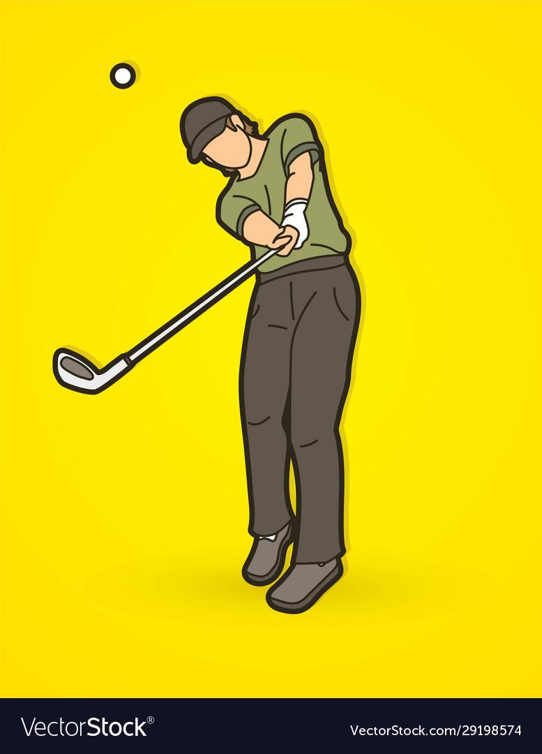 Golf player golfer action cartoon sport graphic
