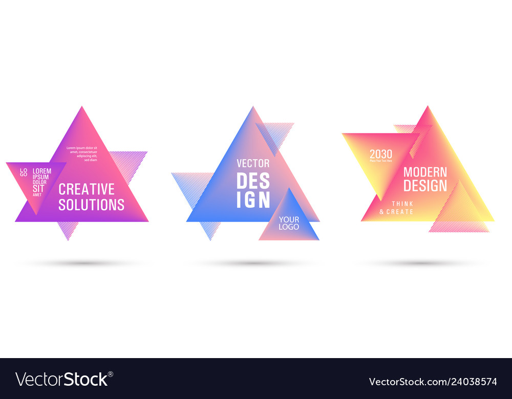 Gradient color triangle banners with halftone