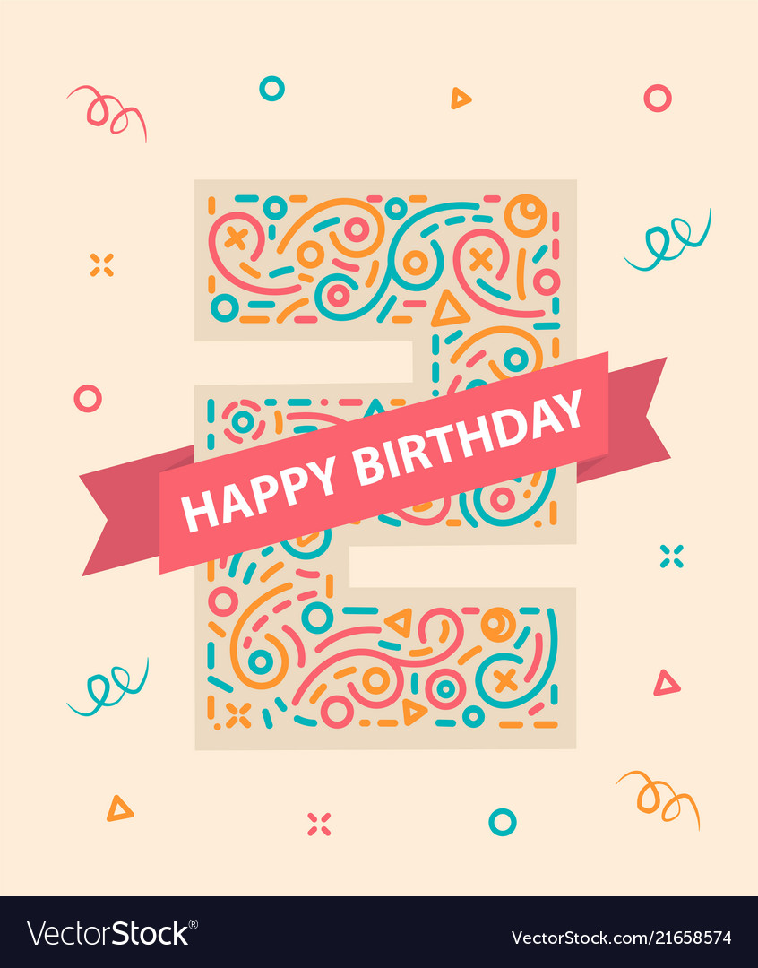Happy birthday number 2 colorful greeting card for