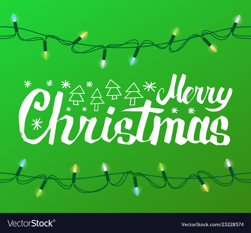 Merry christmas greeting text spruce fir new year