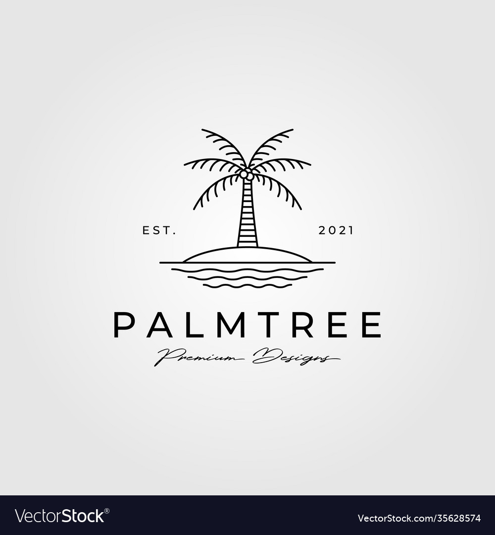 Palm tree line art logo minimalist symbol design