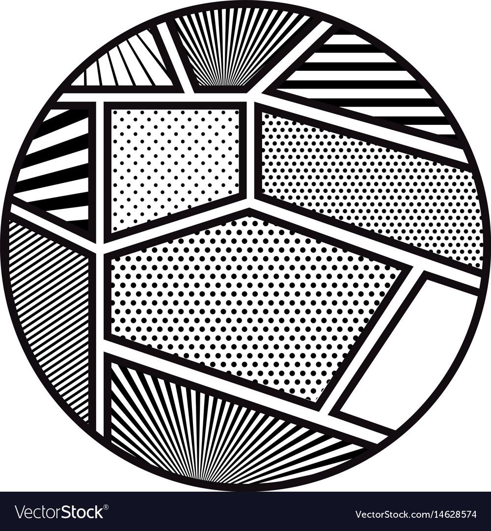 Pop art frames inside circle design