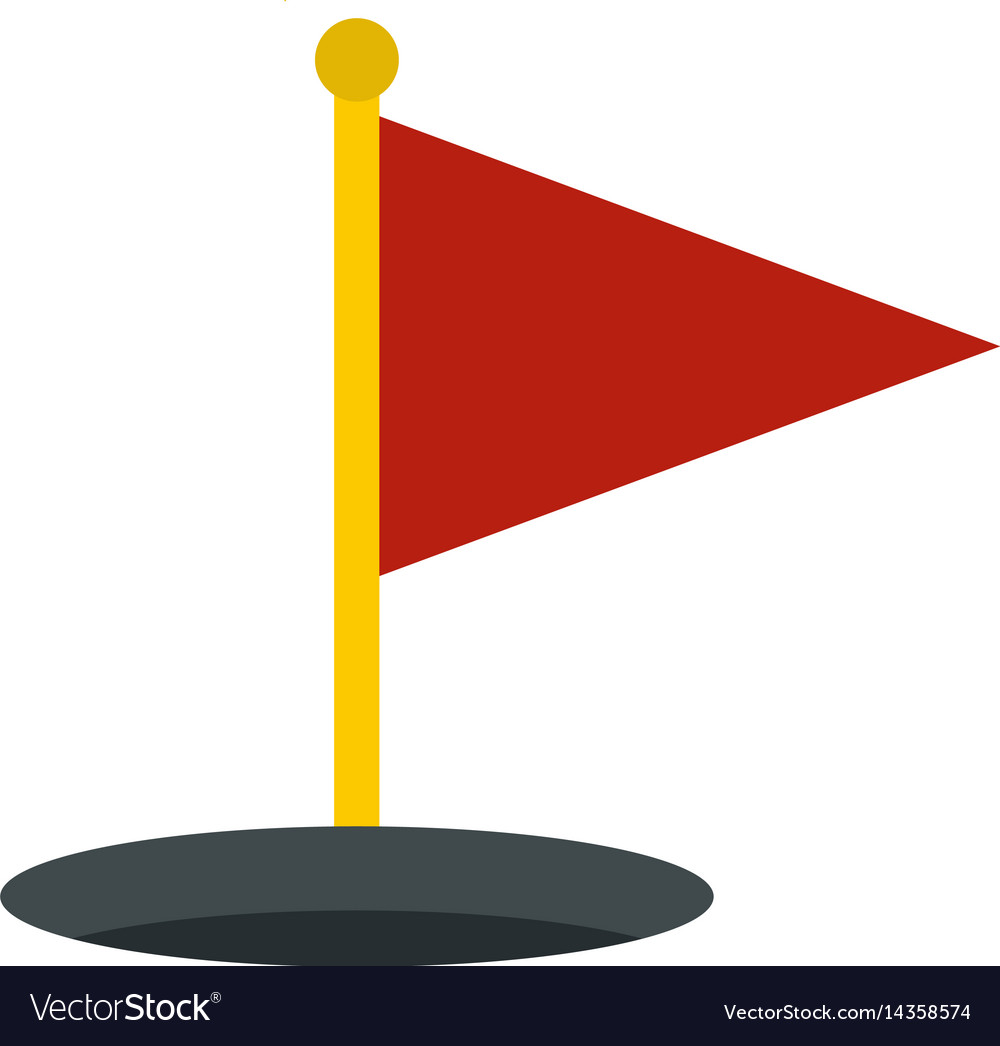 Red golf flag icon isolated