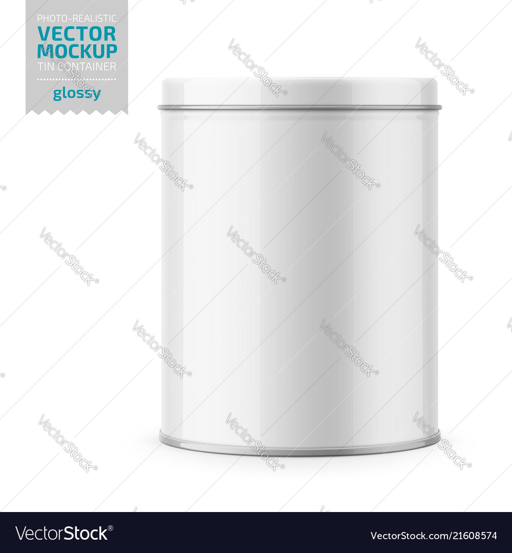 Round glossy tin can with lid template