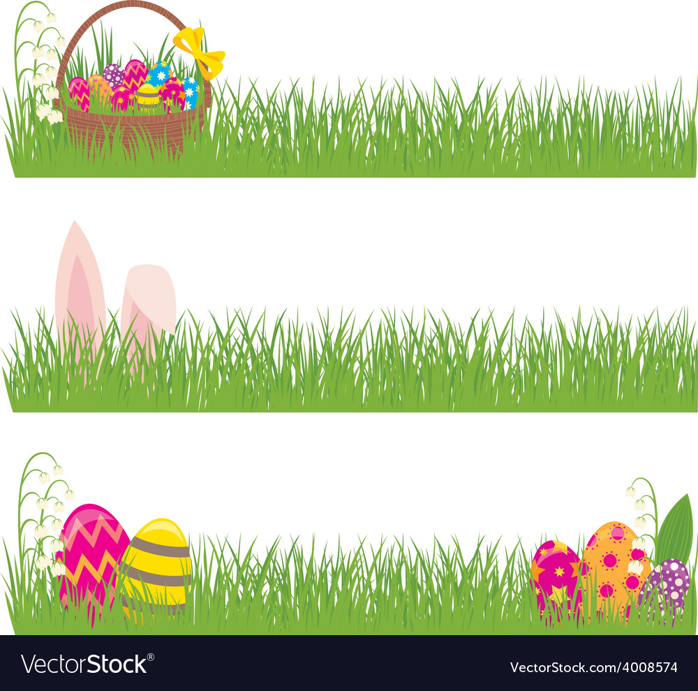 Set of Easter banners grass and Easter eggs