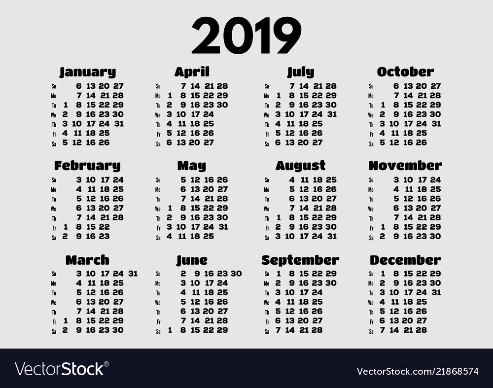 Simple calendar layout for 2019 year