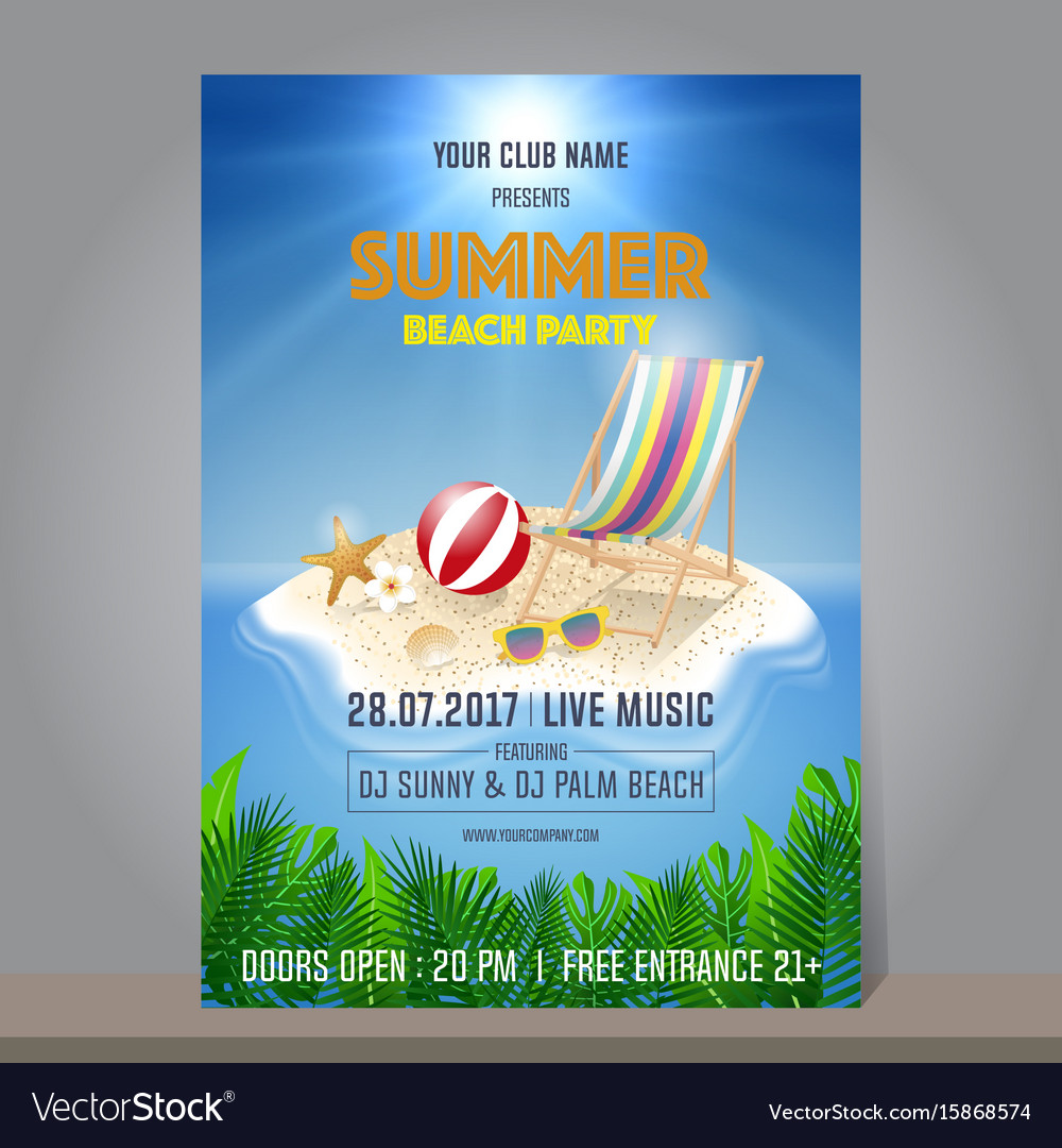 Summer beach party design template season