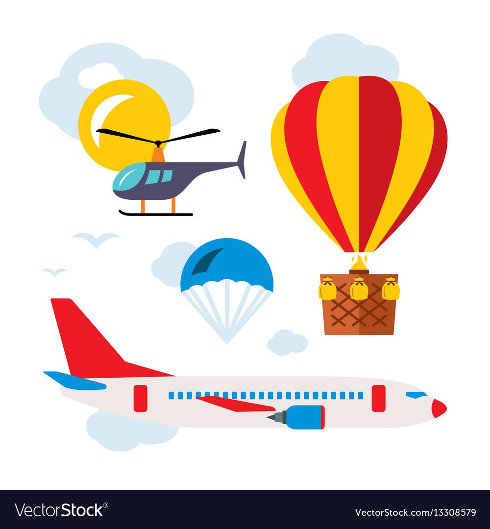 Aviation icons set flat style colorful