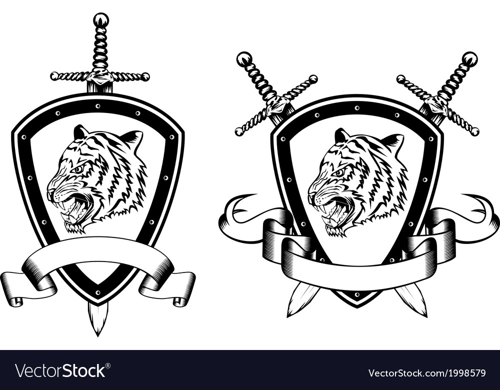 Board and sword with tiger2 vector image