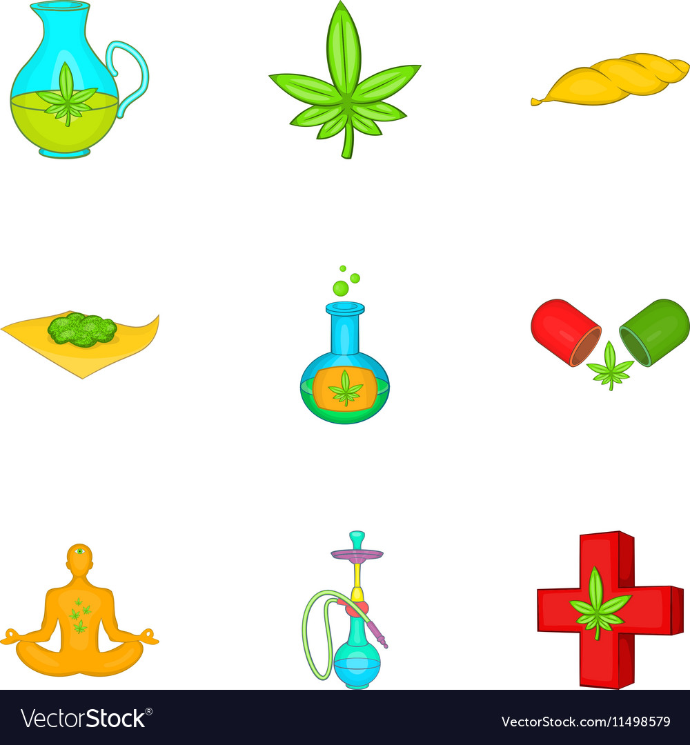 Cannabis icons set cartoon style