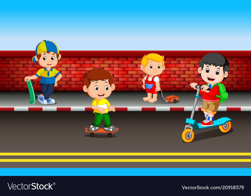 Childrens playing on the road