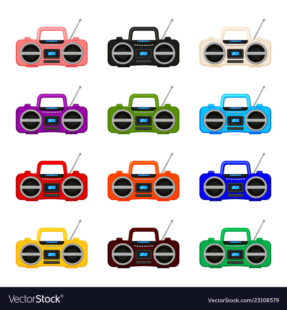 Colorful cartoon boombox collection
