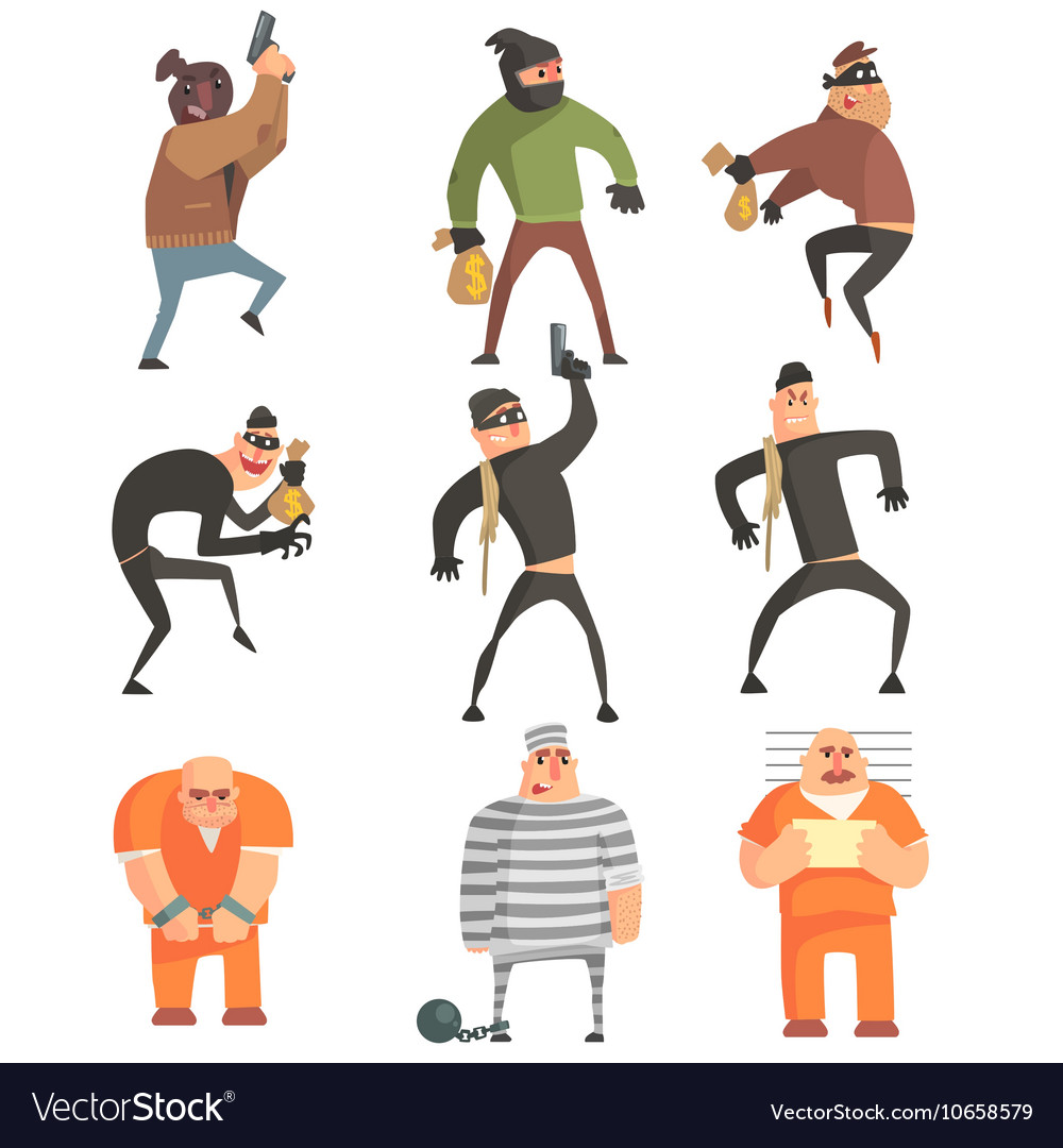Criminals And Convicts Funny Characters Set vector image