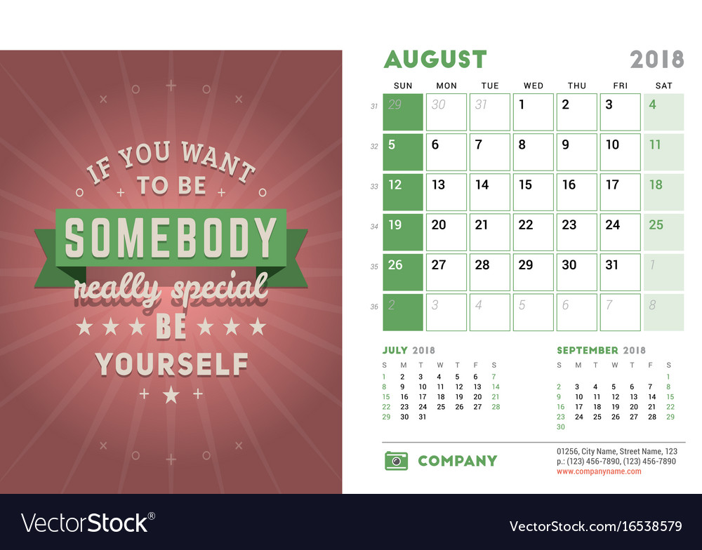 Desk Calendar Template For 2018 Year August Vector Image
