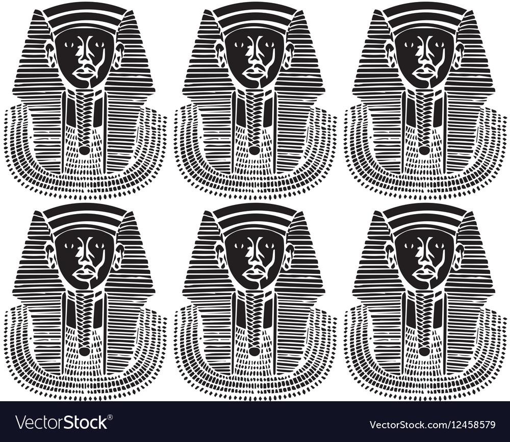 Egypt Pharaoh silhouette pattern vector image