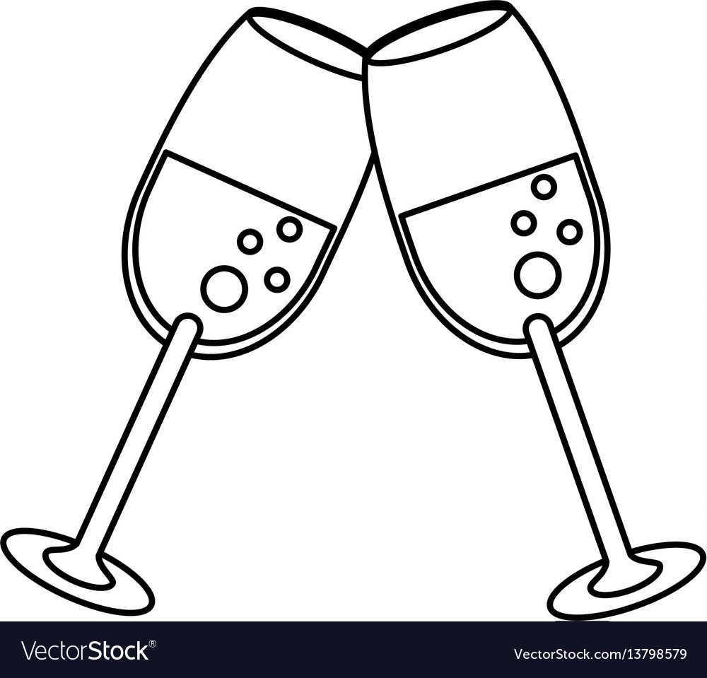 Glass cup champagne celebration outline