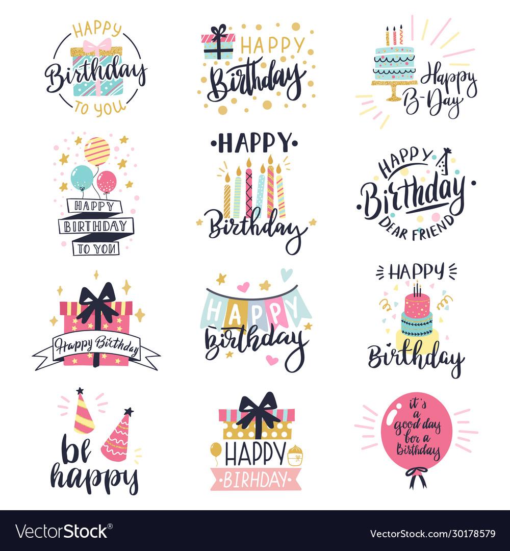Happy birthday logo badge greeting lettering