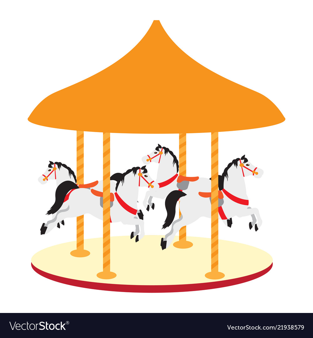 isolated carnival carousel icon royalty free vector image
