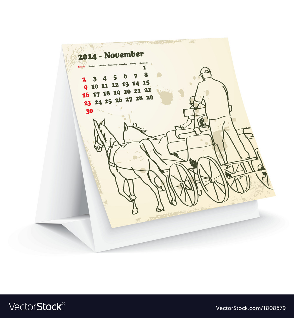 November 2014 desk horse calendar vector image