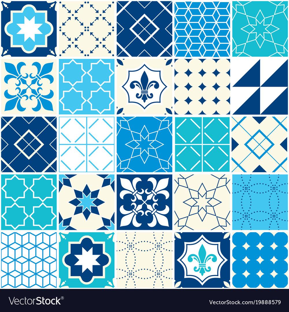 Seamless blue tile pattern azulejos tiles Vector Image