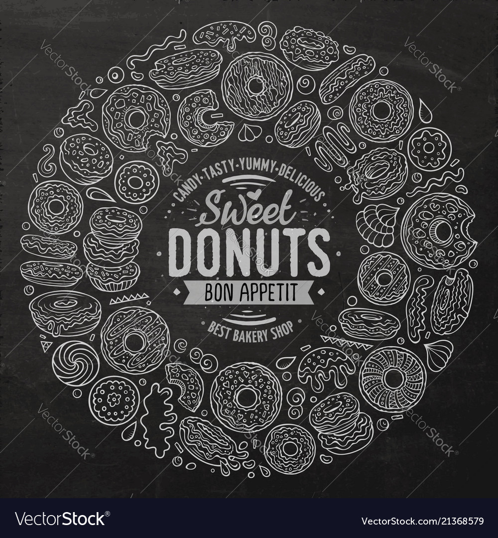 Set donuts cartoon doodle objects symbols and
