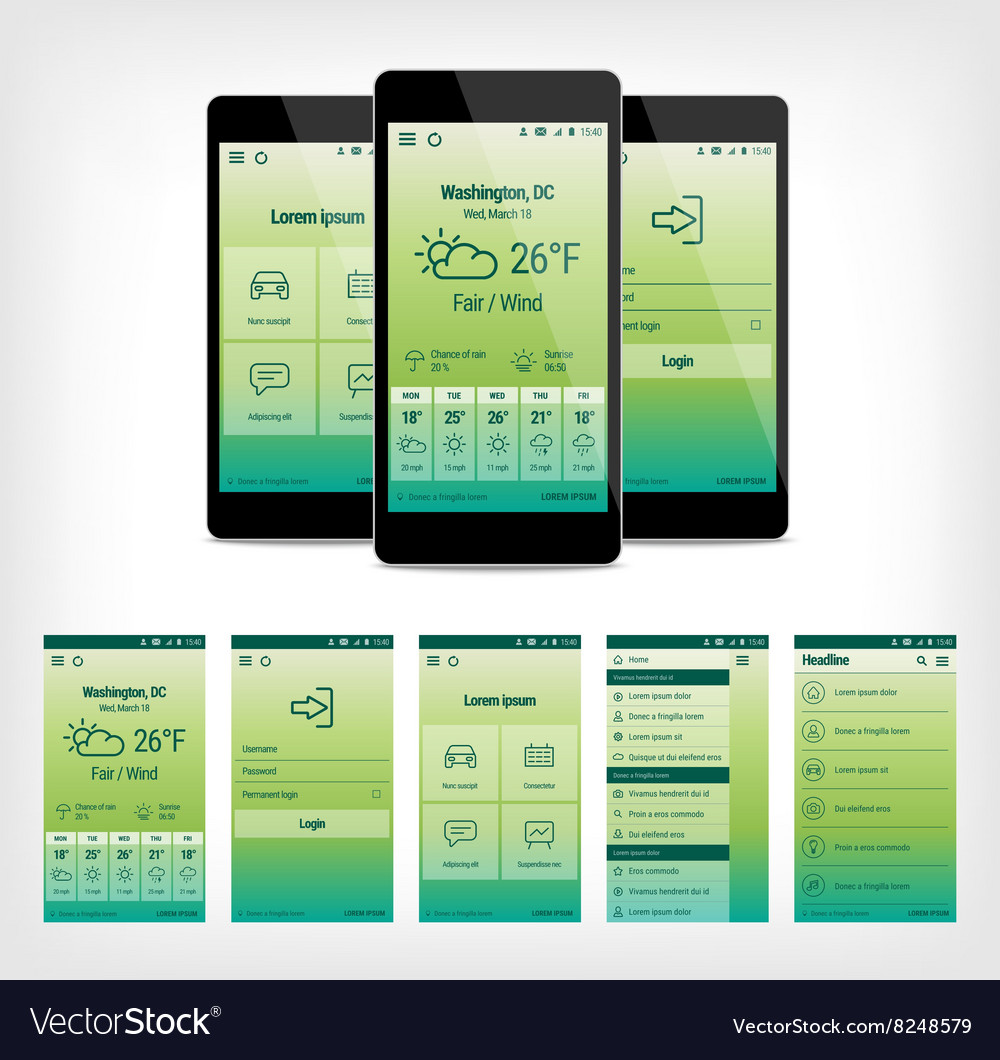 Set of green mobile user interface design