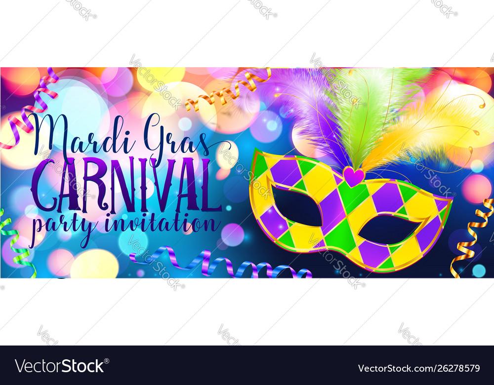 Traditonal colors carnival mask on shining bokeh